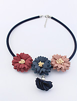 Women's Choker Necklaces Flower leather Euramerican Fashion Bohemian Jewelry Party Casual 1pc
