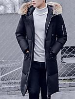 Пальто Простое Пуховик Для мужчин,Однотонный На каждый день Полиэстер Пух белой утки,Длинный рукав
