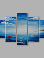IARTS® Hand Painted Modern Abstract Summer Ocean Sailing View Set of 5 Oil Painting On Canvas with Stretched Frame Wall Art For Home Decoration Ready