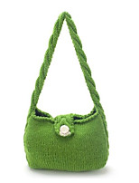 Women Shoulder Bag Linen All Seasons Casual Outdoor Round Without Zipper Green