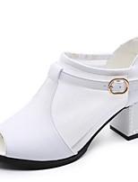 Women's Dance Shoes Sandals Cowhide Cuban Heel Black/White