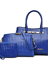 Women Bag Sets PU All Seasons Wedding Event/Party Casual Formal Office & Career Barrel Zipper Red Black White Blue