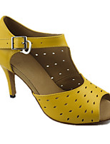 Women's Latin Real Leather Sandals Performance Silk Thread Stiletto Heel Yellow 3