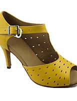 Feminino Latina Pele Real Sandálias Apresentação Fio de seda Salto Agulha Amarelo 7,5 - 9,5 cm Personalizável
