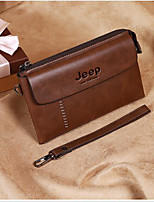 Men Checkbook Wallet PU All Seasons Casual Square Zipper Brown black Black