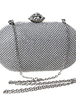 Women Evening Bag Polyester All Seasons Wedding Event/Party Formal Minaudiere Rhinestone Crystal Clasp Lock Silver Gold
