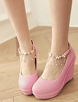 Women's Heels Comfort Spring Fall PU Nubuck leather Casual White Black Blushing Pink 4in-4 3/4in