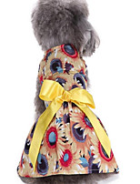 Dog Dress Dog Clothes Casual/Daily Bowknot Blue Yellow