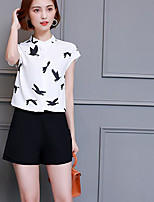 Women's Daily Casual Simple Cute Spring Summer Blouse,Animal Print Stand Short Sleeve Cotton Polyester