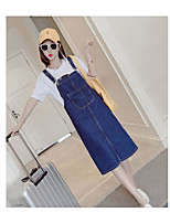 Women's Daily Casual/Daily Summer T-shirt Dress Suits,Solid Off Shoulder Sleeveless