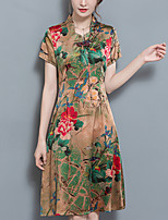Women's Plus Size Casual/Daily Simple Chinoiserie A Line Sheath Dress,Floral Stand Maxi Short Sleeve Silk Summer Mid Rise Inelastic Medium