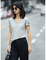 AMIIWomen's Daily Casual Simple T-shirtSolid Print V Neck Short Sleeve Cotton