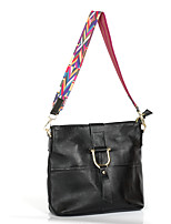 Women Shoulder Bag Cowhide All Seasons Formal Office & Career Rectangle Metallic Buckle Zipper Black
