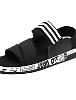 Men's Sandals Comfort Spring Fall PU Casual Split Joint Flat Heel Black Flat