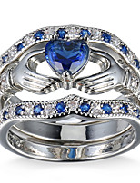 Ring Women's Euramerican Luxury Creative Blue Heart Zircon Ring Daily Party  Movie Business Gift Jewelry