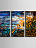 E-HOME Stretched Canvas Art Women Who Rush To The Depths Decoration Painting Set Of 3