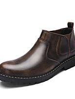 Men's Sneakers Bootie Comfort Fashion Boots Fall PU Casual Chunky Heel Gray Dark Brown Flat