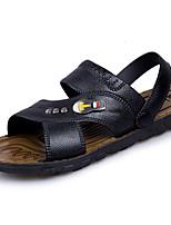 Men's Sandals Comfort PU Spring Summer Casual Comfort Low Heel Light Brown Black Under 1in
