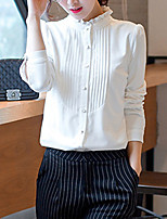 Women's Going out Casual/Daily Simple Summer Fall Shirt,Solid Stand Long Sleeve Polyester Medium
