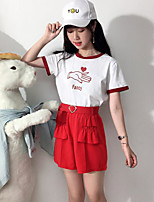 Women's Daily Casual Casual Summer T-shirt Pant Suits,Print Color Block Round Neck Short Sleeve Micro-elastic