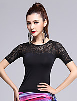 Latin Dance Tops Women's Training Lace Ice Silk Laces 1 Piece Short Sleeve Tops