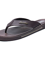 Men's Slippers & Flip-Flops Mary Jane Summer Wool PU Casual Buckle Flat Heel Black Coffee Blue Flat