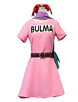 Inspired by Dragon Ball Bulma Anime Cosplay Costumes Dresses Pink Short Sleeve Dress For Female