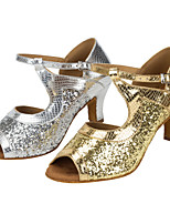 Damen Latin Glanz Sandalen Aufführung Kubanischer Absatz Gold Silber 5 - 6,8 cm Maßfertigung