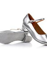 Women's Kids' Dance Shoes Patent Leather Flats Practice Silver