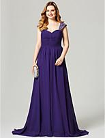 Vestido de noite de chiffon com tiras de uma linha de varredura / escova com beading by ts couture®