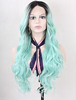 жен. Парики из искусственных волос Лента спереди Длиный Волнистые Светло-синий Синий Зеленый Черный Волосы с окрашиванием омбре Парики