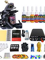 Professional Complete Tattoo Kit 1 Top Machine 7 Color Ink Needles Power Supply