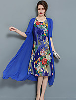 Women's Plus Size Going out Street chic Sheath Dress,Floral Round Neck Midi Short Sleeve Chiffon Satin Summer Mid Rise Micro-elastic