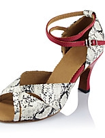 Women's Latin Faux Leather Sandals Performance Pattern/Print Cuban Heel Red/White 2