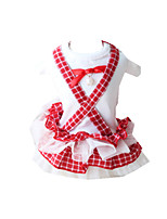 Dog Dress Dog Clothes Casual/Daily Plaid/Check Ruby
