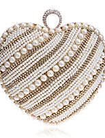 Women Evening Bag PU Polyester All Seasons Wedding Event/Party Formal Heart Shaped Rhinestone Pearl Detailing Clasp Lock Gold