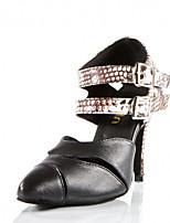 Women's Latin Silk Sandals Performance Buckle Stiletto Heel Black/Silver 3
