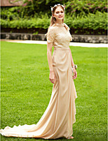 LAN TING BRIDE Cauda Corte Gola Alta Vestido de Madrinha - Transparente Elegant Manga Curta Chiffon Renda