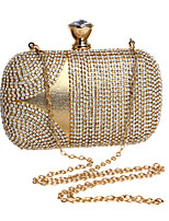 Women Evening Bag Polyester All Seasons Wedding Event/Party Formal Minaudiere Rhinestone Crystal Clasp Lock Red Silver Black Gold Blue