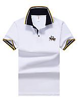 Для мужчин Для вечеринок Офис / Карьера Повседневные Новый год На выход Лето Polo Рубашечный воротник,ПростоеОднотонный Контрастных