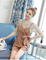 Damen Solide Ablösen Ausgehen T-Shirt-Ärmel Kleid Anzüge,Rundhalsausschnitt Sommer Kurzarm