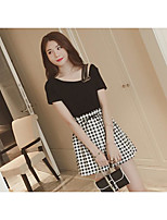 Women's Daily Classic Vintage Glamorous & Dramatic Spring Summer T-shirt Pant Suits,Simple Plaid/Check One Shoulder Short Sleeve Stylish