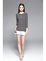 Damen Solide Einfach Ausgehen Lässig/Alltäglich T-shirt,Rundhalsausschnitt Alle Saisons 3/4 Ärmel Andere Mittel