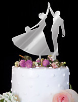 Custom bride and groom acrylic mirror silver wedding cake decorated with delicate cake