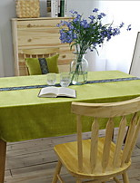 High-grade Green Solid Color Embroidery Cotton And Linen Table Cloth 90*90cm