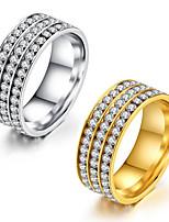 Damen Ring Kubikzirkonia Klassisch Elegant Kubikzirkonia Titanstahl Runde Form Schmuck Für Hochzeit Party Verlobung Alltag Zeremonie