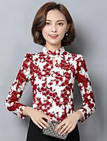 Chemisier Femme,Imprimé Couleur Pleine Décontracté / Quotidien simple Manches Longues Mao Polyester
