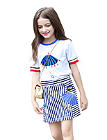 Girls' Cartoon Sets,Cotton Summer Short Sleeve Clothing Set