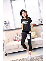 Women's Party Soak Off Summer T-shirt Pant Suits,Solid Round Neck Short Sleeve