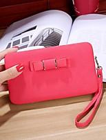 Women Checkbook Wallet PU All Seasons Casual Rectangle Zipper Blushing Pink Deep Blue Rose